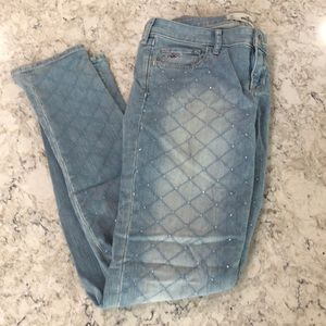 Hollister light blue skinny jeans with crystals
